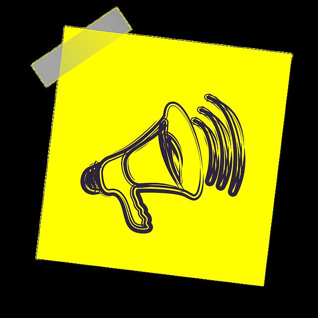 veřejné oznámení, megafon