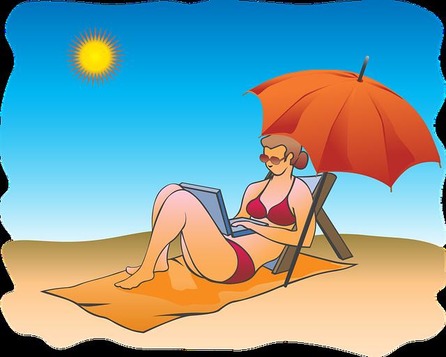 žena pod slunečníkem, opalování